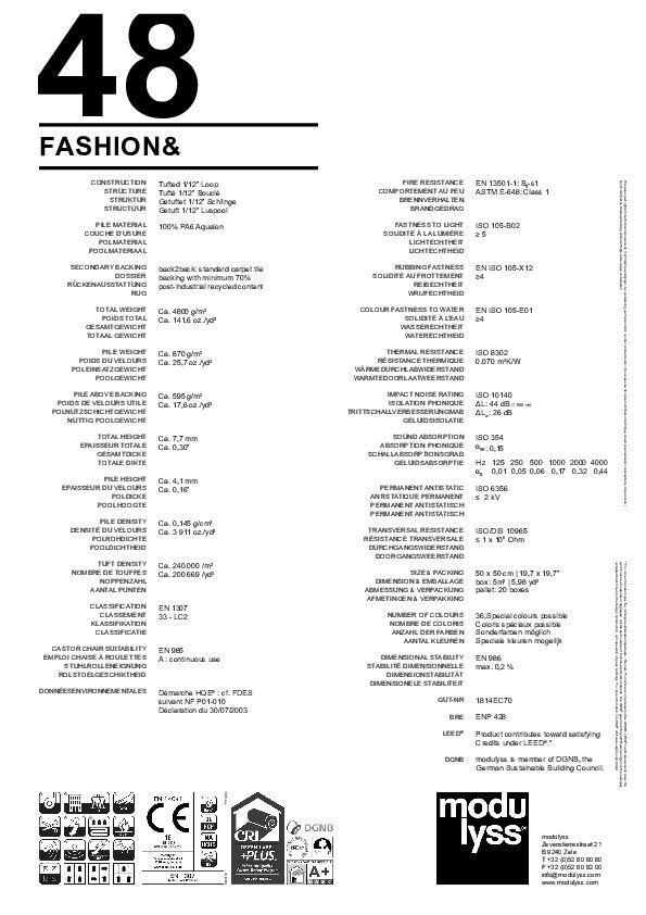 Technisches Datenblatt Modulyss Teppichfliese Fashion&