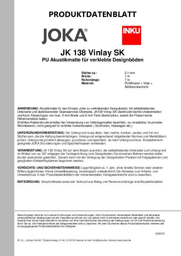 Produktdatenblatt JK 138 Vinlay PDF 111 KB