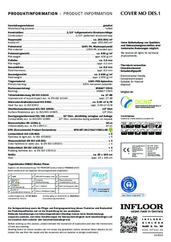Technisches Datenblatt Teppichfliesen INFLOOR Cover MO 1