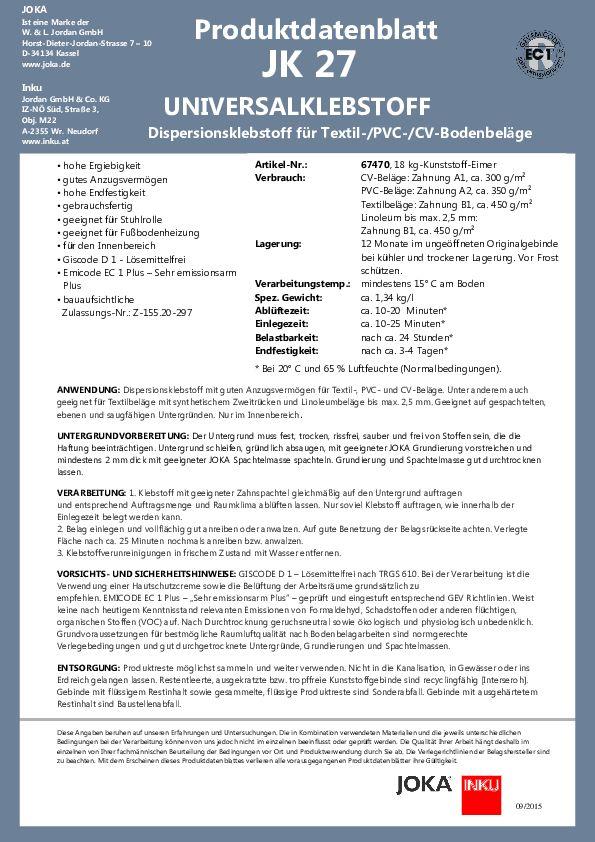 Produktdatenblatt JK 27 PDF 129 KB