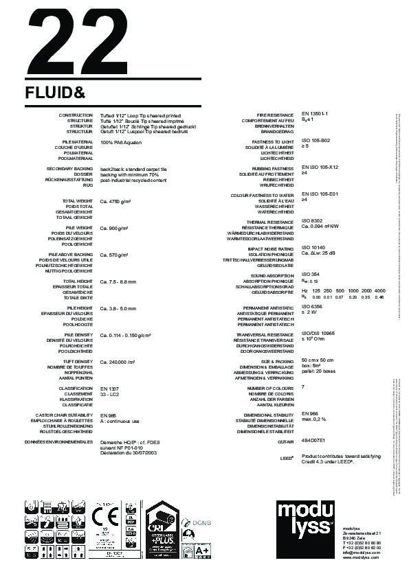 Technisches Datenblatt Teppichfliese Modulyss Fluid&