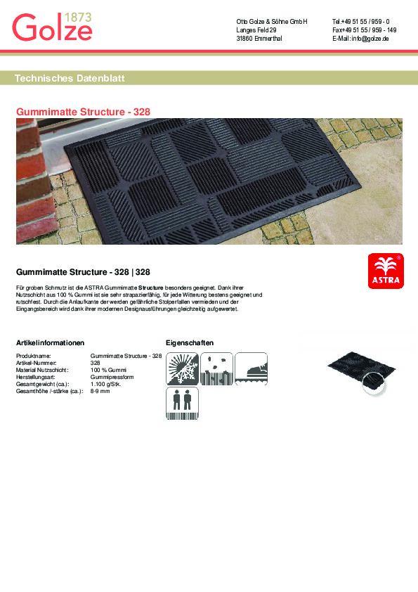 Technisches Datenblatt Gummimatte Structure Rechteck