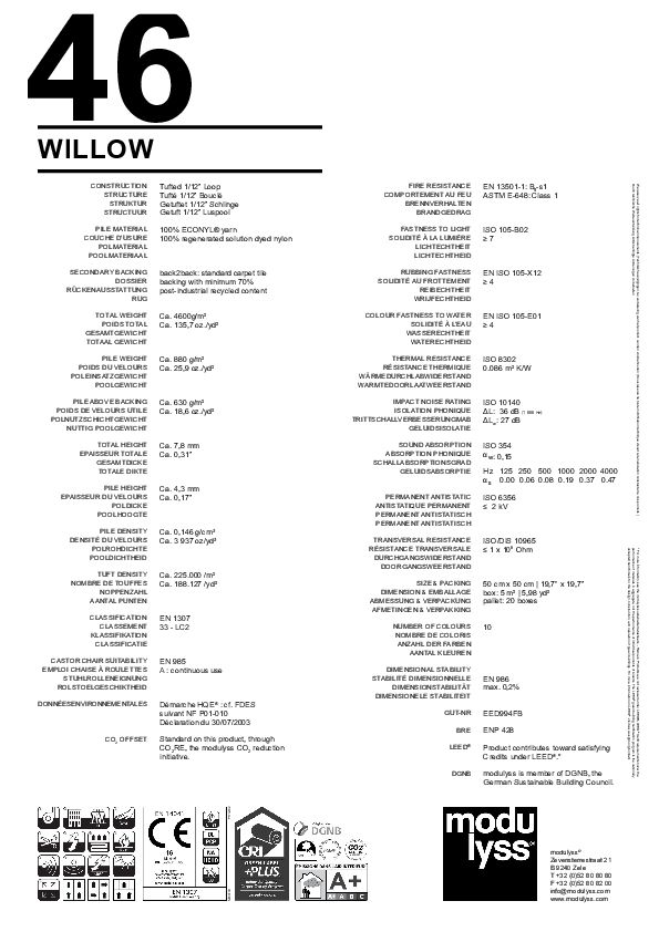 Technisches Datenblatt Modulyss Teppichfliese Willow