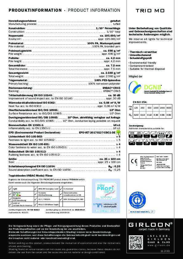 Technisches Datenblatt Teppichfliese TRIO MO