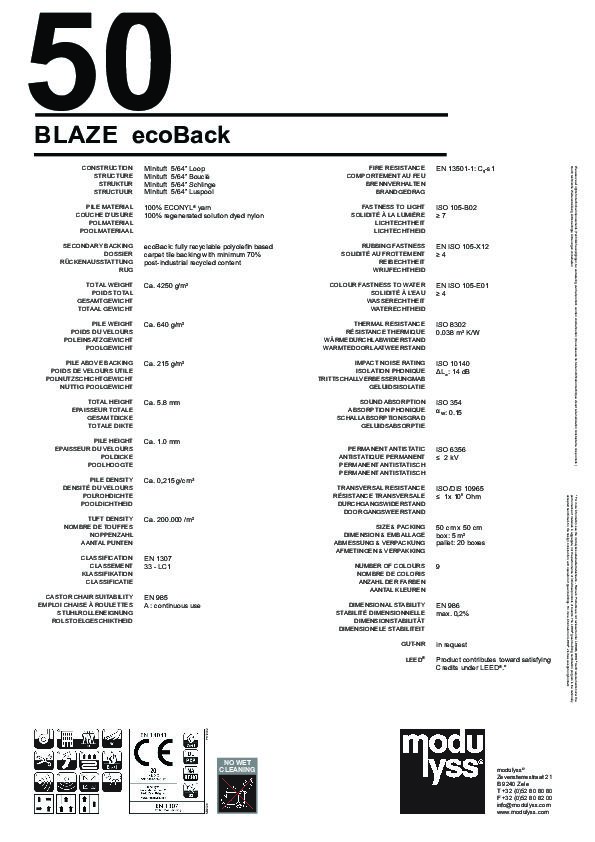 Technisches Datenblatt Modulyss Teppichfliese Blaze