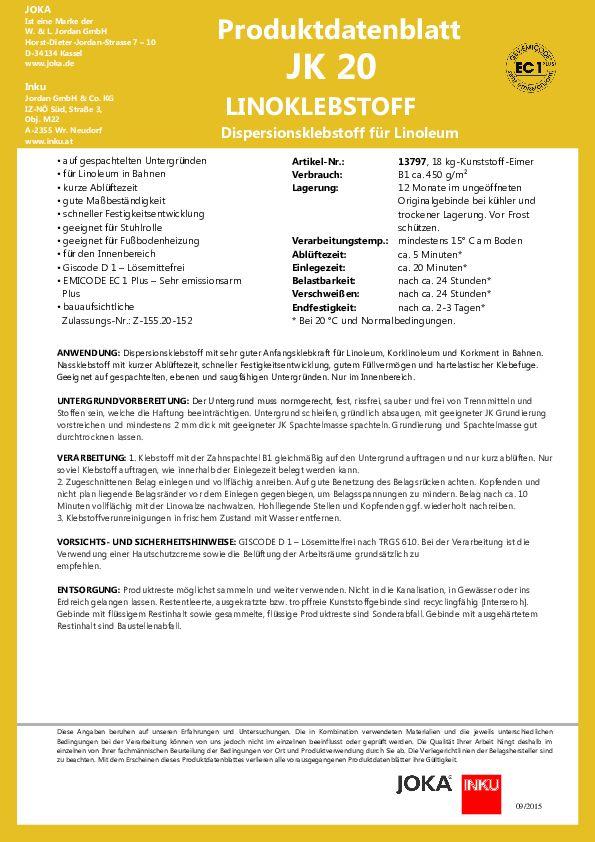 Produktdatenblatt JK 20 PDF 123 KB