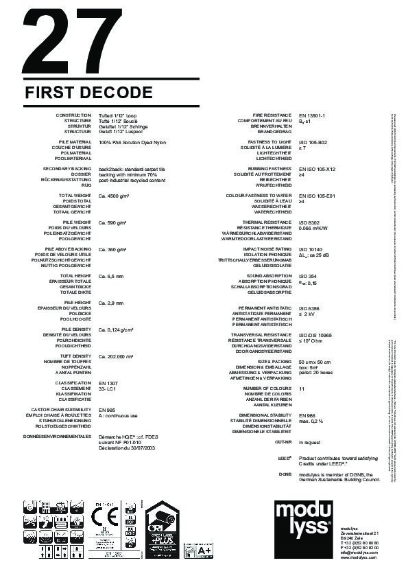 Technisches Datenblatt Teppichfliese Modulyss First Decode