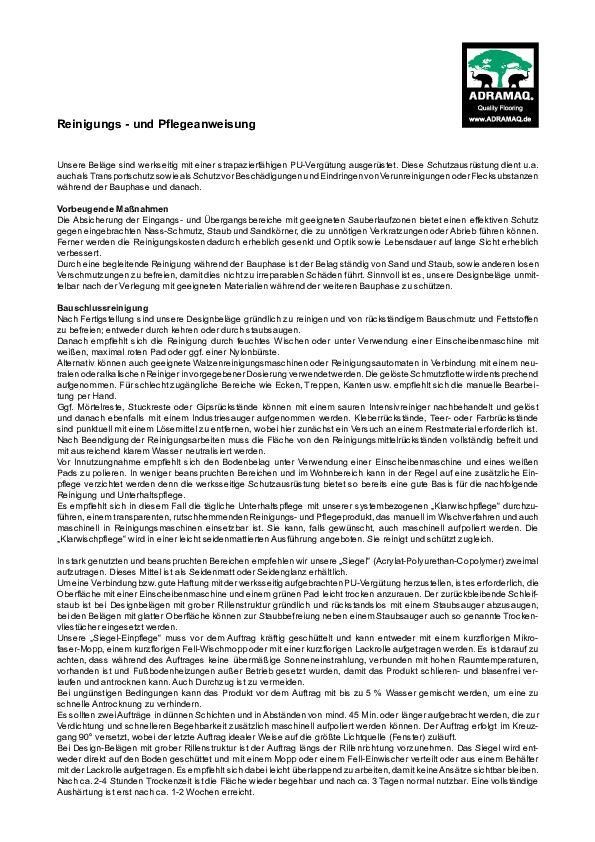 Reinigung und Pflege PDF 148 KB