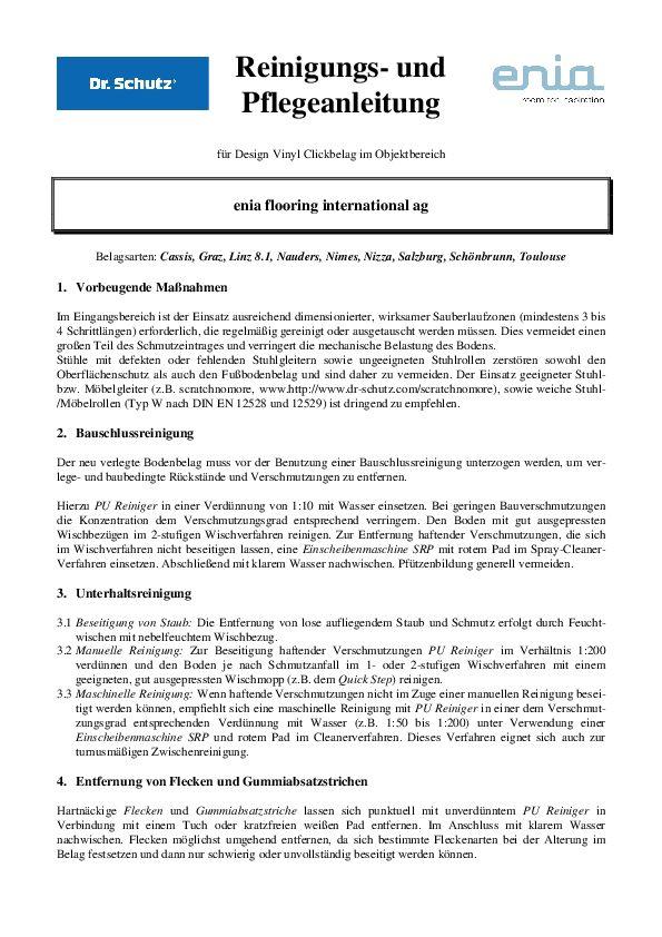 Pflegeanleitung Objekt PDF