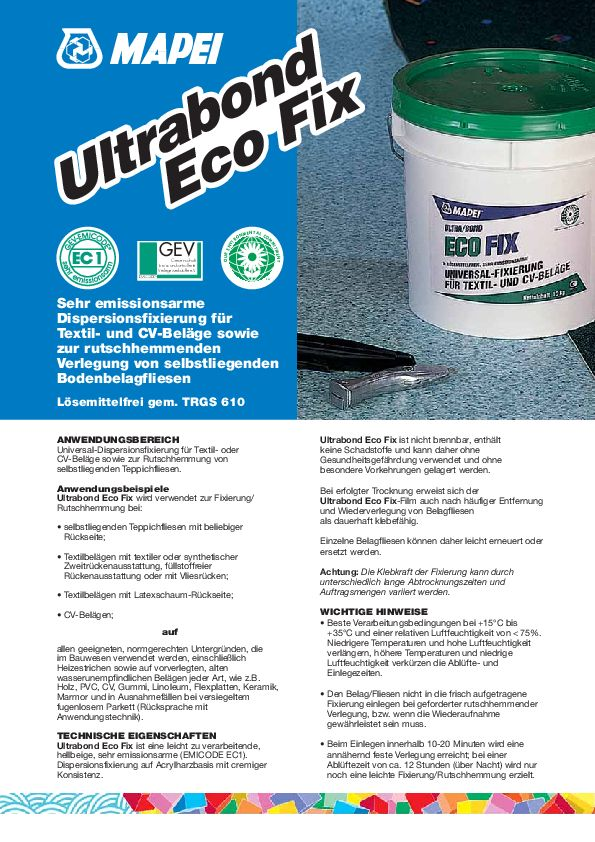 Mapei Ultrabond Eco Fix Datenblatt