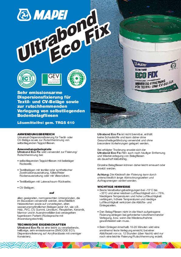 Mapei Ultrabond Eco Fix Datenblatt