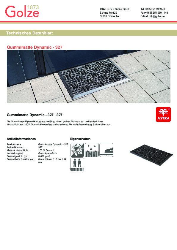Technisches Datenblatt Gummimatte Dynamic Rillen