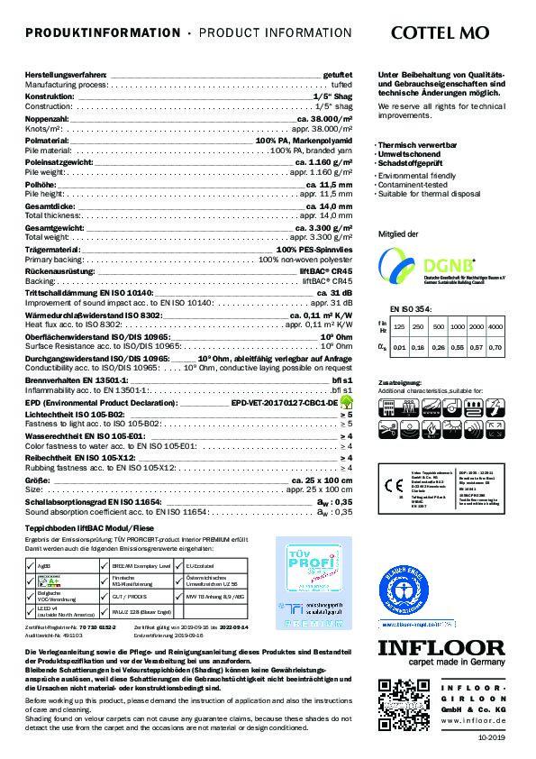 Technisches Datenblatt Teppichfliesen COTTEL MO