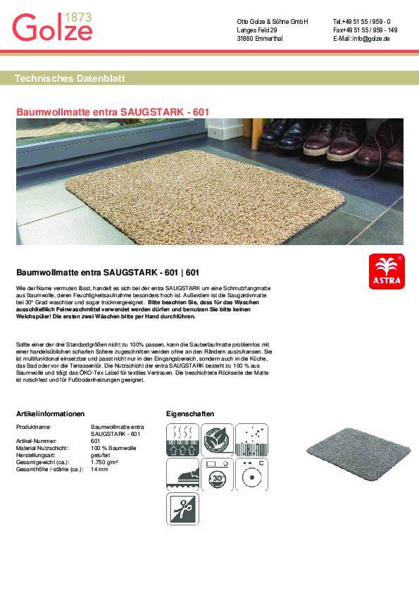 Technisches Datenblatt Baumwollmatte ENTRA Saugstark