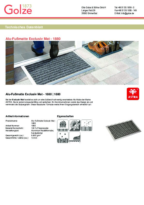 Technisches Datenblatt Alu-Fussmatte Exclusiv Mat