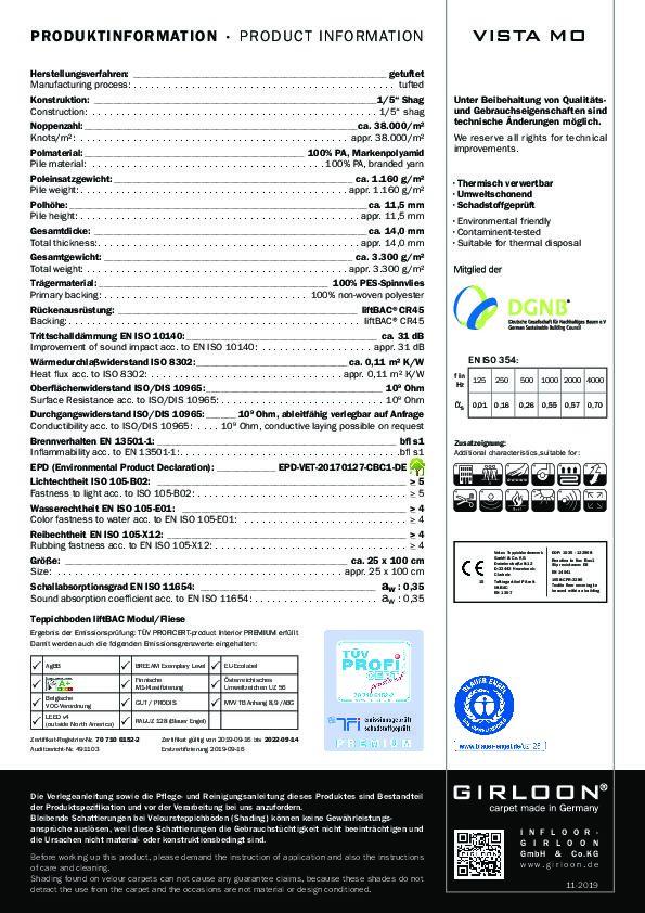 Technisches Datenblatt Teppichfliese VISTA MO