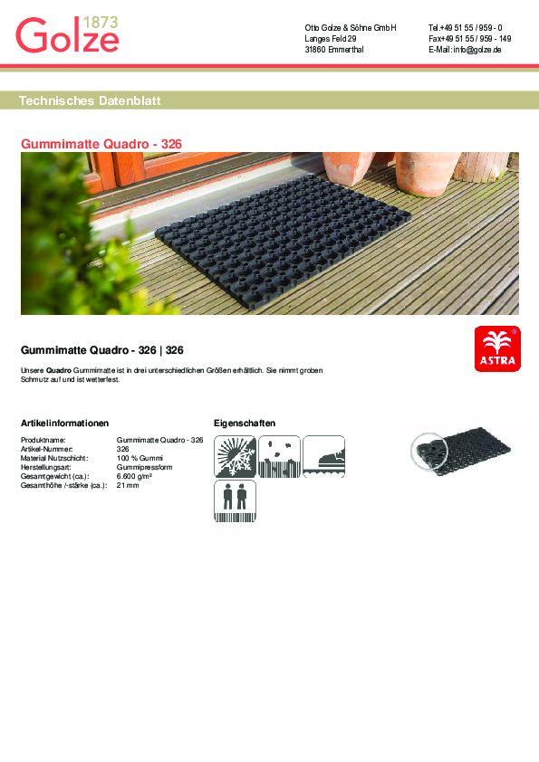 Technisches Datenblatt Gummimatte Quadro schwarz