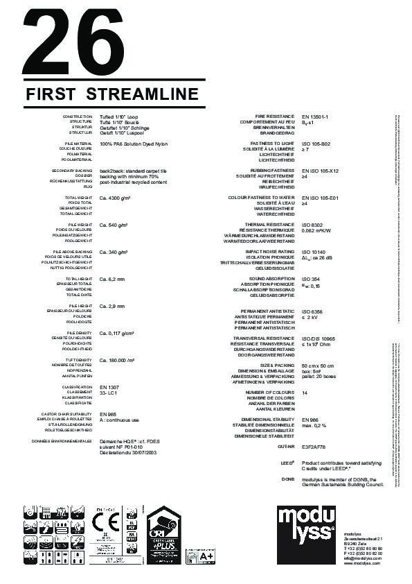 Technisches Datenblatt Modulyss Teppichfliese First Streamline 106
