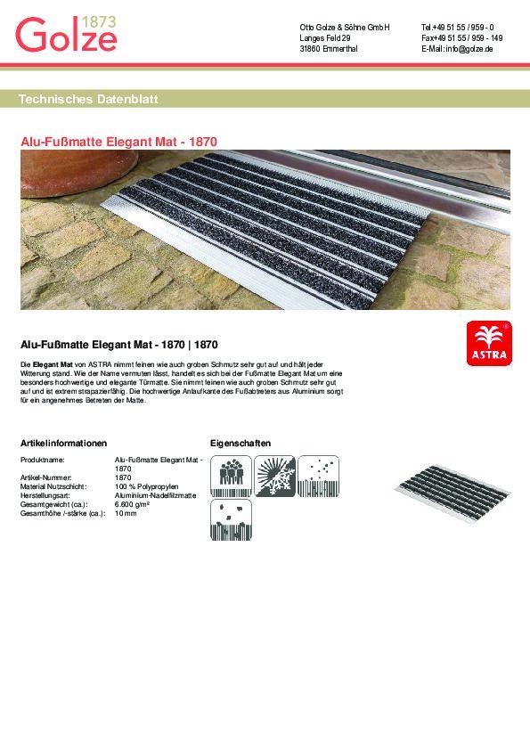 Technisches Datenblatt Alu-Fussmatte Elegant MAT