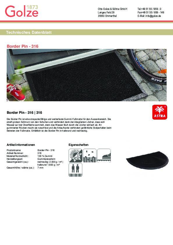 Technisches Datenblatt Gummi Fußmatte Border Pin
