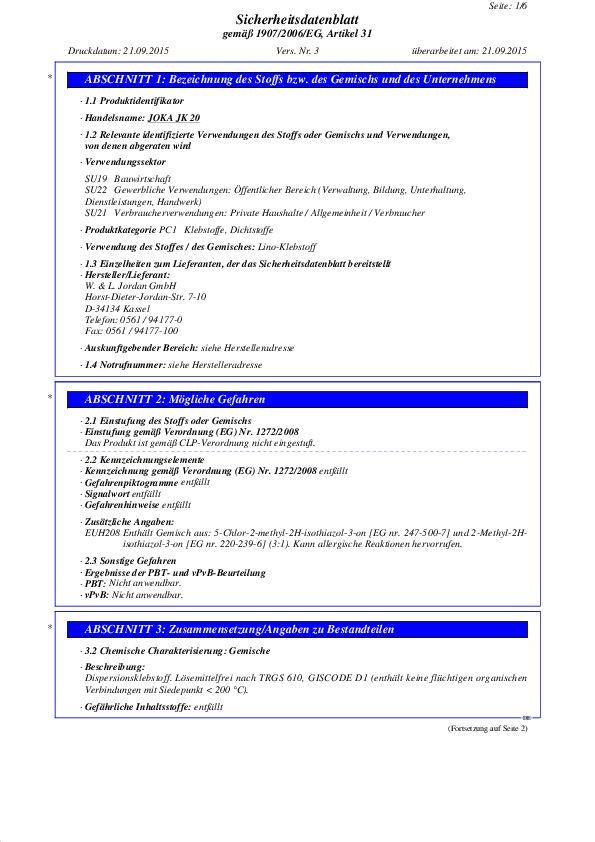 Sicherheitsdatenblatt JK 20 PDF 70,6 KB