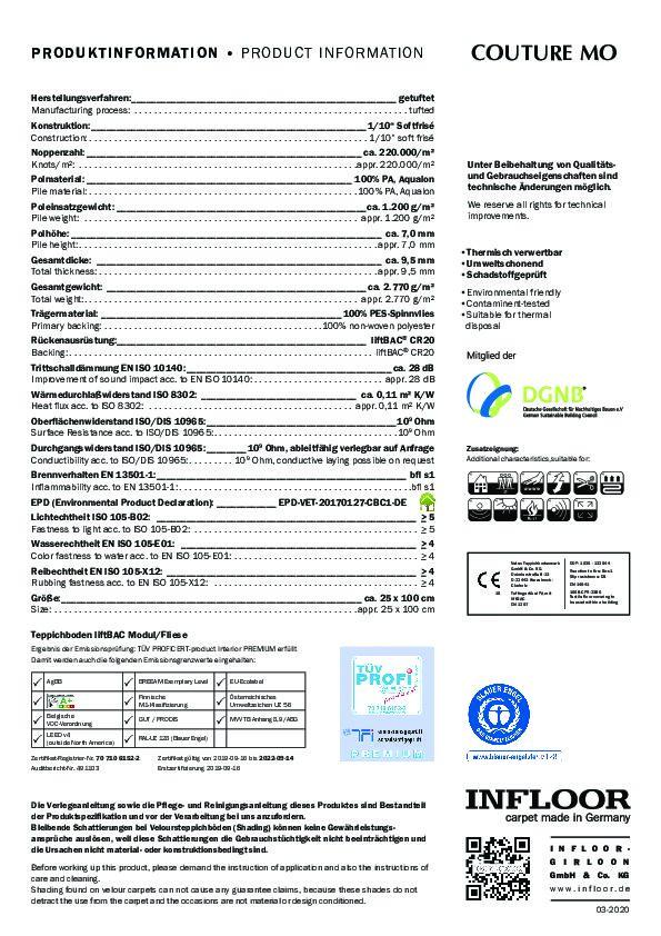 Technisches Datenblatt Teppichfliesen COUTURE MO
