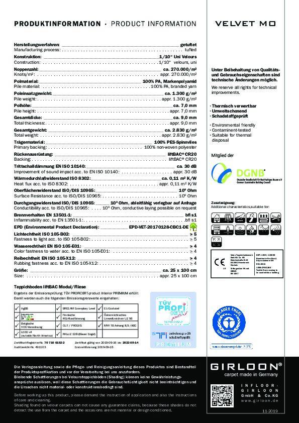 Technisches Datenblatt Teppichfliese Girloon VELVET MO