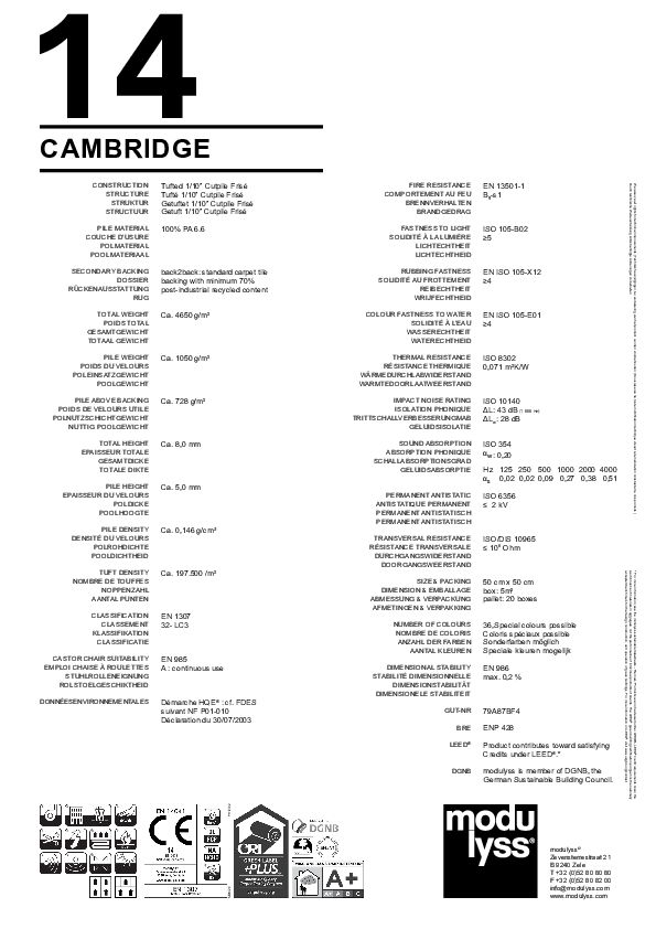 Technisches Datenblatt Modulyss Teppichfliese Cambridge