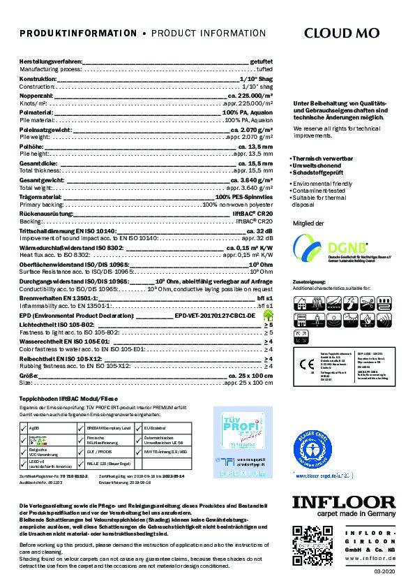 Technisches Datenblatt Teppichfliesen INFLOOR CLOUD MO