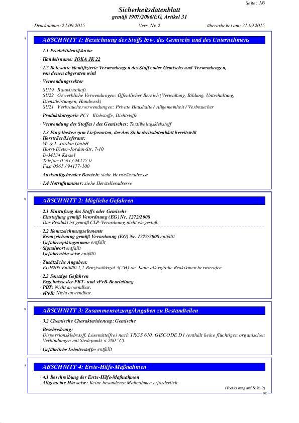 Sicherheitsdatenblatt JK 22 PDF 70 KB