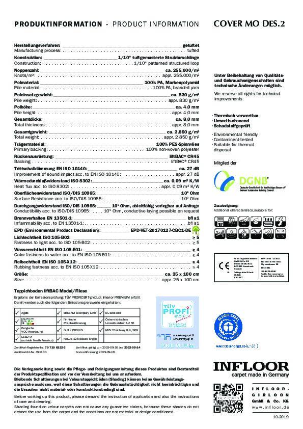 Technisches Datenblatt Teppichfliesen INFLOOR Cover MO 2