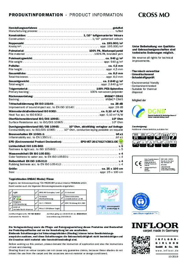 Technisches Datenblatt Teppichfliesen CROSS MO