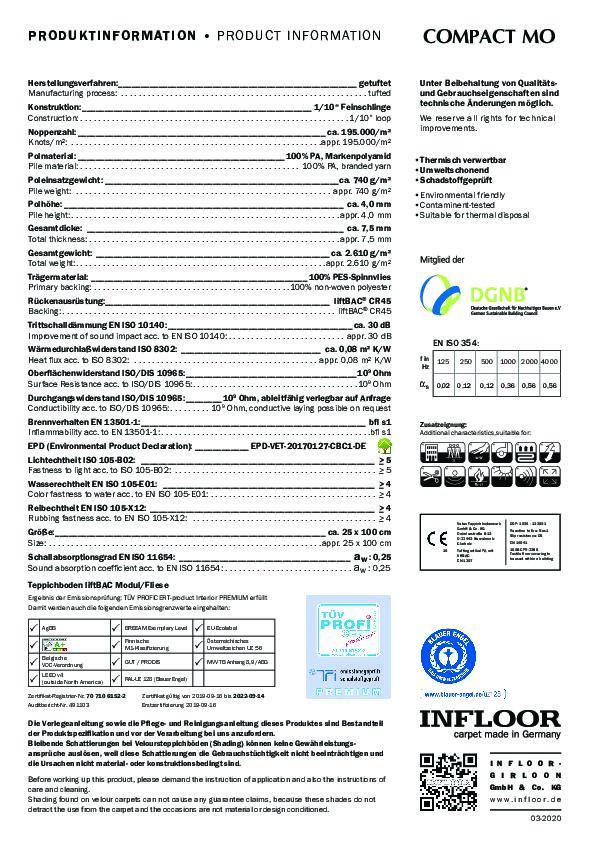 Technisches Datenblatt Teppichfliesen INFLOOR COMPACT MO