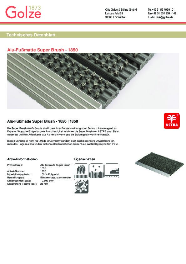 Technisches Datenblatt Alu-Fussmatte Super Brush